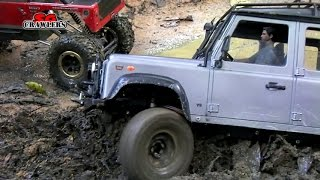 getlinkyoutube.com-RC Winching! Scale offroad Land Rover Defender 110 winching out of mud pool