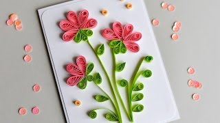 getlinkyoutube.com-How to Make - Greeting Card Quilling Flowers - Step by Step | Kartka Okolicznościowa