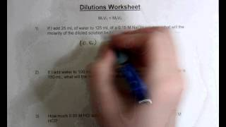 Dilutions Worksheet - YouTube