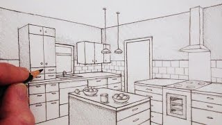 How to Draw a Room in Two-Point Perspective: Time Lapse