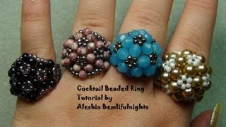 getlinkyoutube.com-Cocktail Beaded Ring Tutorial