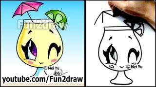 getlinkyoutube.com-Cartoon Drawing Lessons - How to Draw a Summer Drink - Lemonade