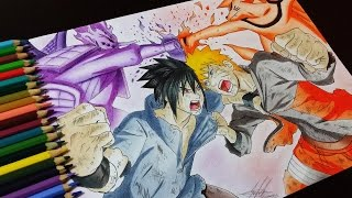 getlinkyoutube.com-Drawing Naruto Vs Sasuke - Batalha Final (Naruto Vs Sasuke Final Battle)