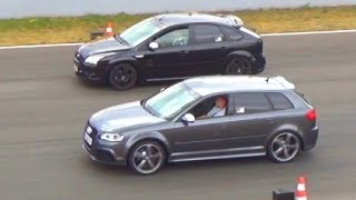 getlinkyoutube.com-Audi RS3 VS Ford Focus ST RS - 1/4 Mile Drag Race Viertelmeile Rennen Acceleration Sound