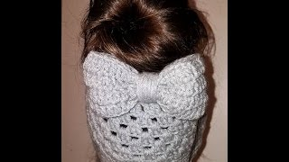 getlinkyoutube.com-Crochet BOW for messy bun beanie