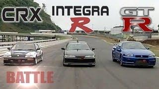 getlinkyoutube.com-[ENG CC] Spirits Integra R vs. Nissan GT-R R34 vs. K-Shift CR-X HV45
