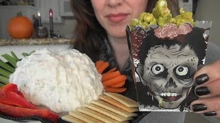 getlinkyoutube.com-ASMR: Brain Dip | Zombie Boogers | Gummy Body Parts | Halloween Party Snacks | Eating Sounds
