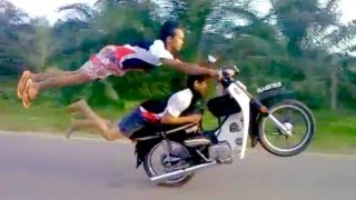 getlinkyoutube.com-INSANE DEATHDEFYING MOPED STUNTS by Two Crazy Talented Riders