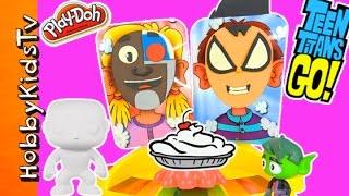 getlinkyoutube.com-Teen Titans Go! Play-Doh Pie Face Challenge + Vinyl Blank Build and Blind Bags with HobbyKidsTV