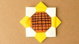 getlinkyoutube.com-簡単折り紙★ ひまわりの折り方 ★平面|Origami Sunflower Easy