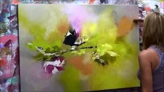 "getlinkyoutube.com-Démonstration de peinture abstraite Elisabeth - Toile ""Emotion"""