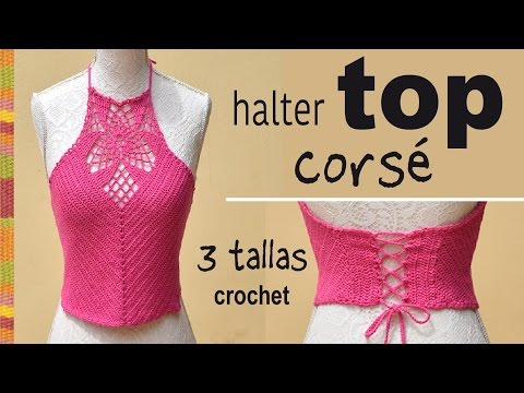 Halter top corsé con granny tejido a crochet en 3 tallas -  Tejiendo Perú