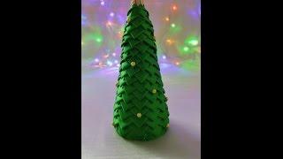 getlinkyoutube.com-Jak zrobić choinkę ze wstążki (karczoch) - Ozdoby Świąteczne