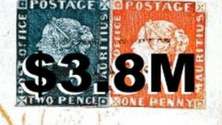 getlinkyoutube.com-$3.8M Rarest and Most Valuable Stamps In The World Mauritius Blue Red RAre British Guiana One Cent