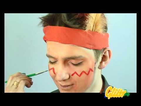 Indianer schminken - z.B. als Kinderschminken Vorlage