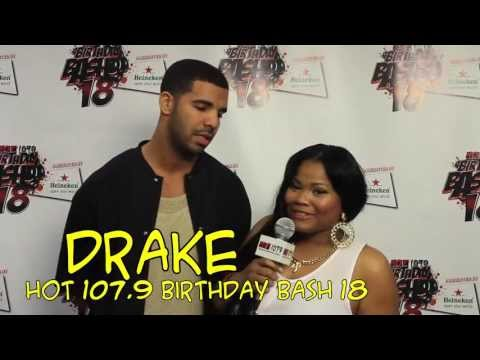 Drake gives an interview after his surprise performance with 2 Chainz