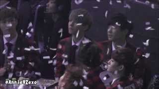 140123 24 EXO 엑소 Baekhyun Chanyeol during K.Will @ Seoul Music Awards 2014 서울가요대상 artists seat
