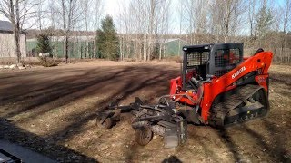 getlinkyoutube.com-Kubota SLV90 2 Spreading Topsoil & Harley Raking A Torch Lake Property