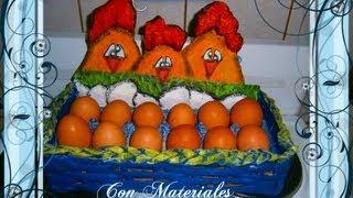 getlinkyoutube.com-Huevera con Materiales Reciclados.How to make a hen with recycled materials