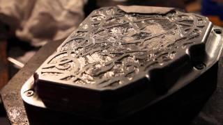 getlinkyoutube.com-Tarrera engraves a custom piece for an Affliction Bike