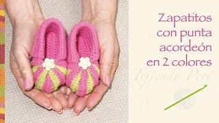 getlinkyoutube.com-Zapatos con punta acordeón en 2 colores tejidos a crochet para bebés!