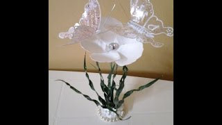 getlinkyoutube.com-Best Out Of Waste Plastic transformed to delicate flower with butterflies Showpiece