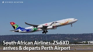 South African Airlines (ZS-SXD) Airbus A340-313 landing on RW03 + departing RW21.