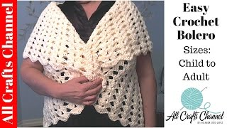 getlinkyoutube.com-Easy crochet Bolero All Sizes child to Adult - Yolanda Soto Lopez