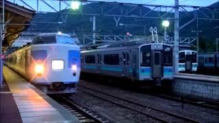 getlinkyoutube.com-早朝の大糸線信濃大町駅に、豊田車189系「あずさ色」入線出発。