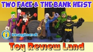 getlinkyoutube.com-Imaginext Two Face in The Bank Heist: with Joker, Harley Quinn, Batman, and Green Arrow!