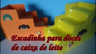 getlinkyoutube.com-Como fazer: Escadinha para doces com caixa de leite