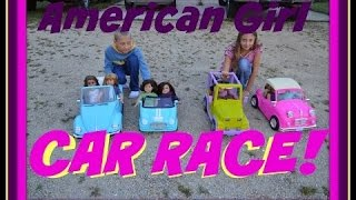 getlinkyoutube.com-All our American Girl Doll Vehicles PLUS CAR RACE~Campers~Scooters~Bikes~Our Generation