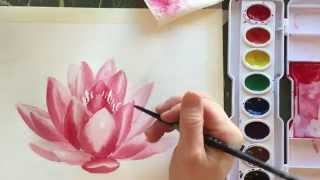 getlinkyoutube.com-How to Paint Watercolor a Water Lily