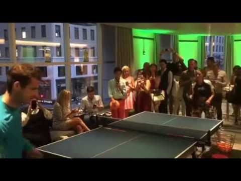 Andy Murray Prepares For The US Open Playing Ping Pong