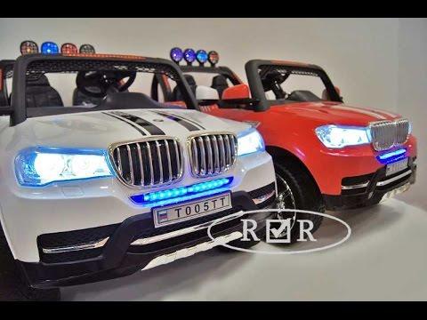 Детский двухместный электромобиль 4х4, BMW T005TT на резиновых колесах. Сборка.