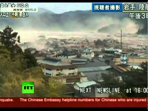 Japan Earthquake: Helicopter aerial view video of giant tsunami waves