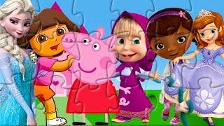 getlinkyoutube.com-Rompecabeza Dora Peppa Pig Doctora Juguetes Princesa Sofia Masha Frozen Puzzle Game for Kids