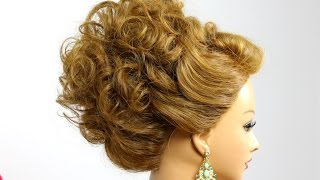 getlinkyoutube.com-Bridal prom updo. Hairstyle for medium hair