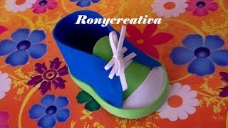 getlinkyoutube.com-ZAPATITOS DE NIÑO EN FOAMY O GOMA EVA PARA BABY SHOWER / BABY SHOWER SHOE DIY