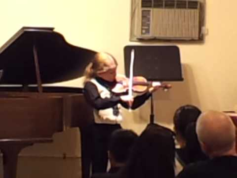 8yo G plays Gavotte from Mignon, Violin book II. School recital, April 2014