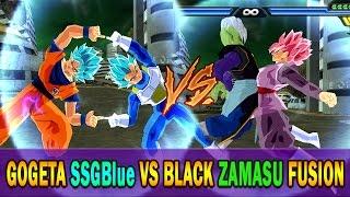 getlinkyoutube.com-Goku SSGB and Vegeta SSGB Fusion vs Black Rose and Zamasu Fusion |  DBZ Tenkaichi 3 (MOD)