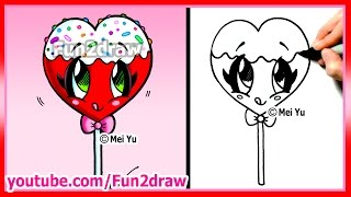 getlinkyoutube.com-How to Draw A Heart Lollipop