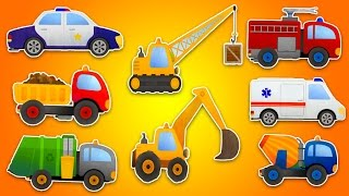 getlinkyoutube.com-МАШИНКИ ДЛЯ ДЕТЕЙ. Полицейская машина, Грузовик, Кран, Экскаватор, Пожарная машина, Бетономешалка.