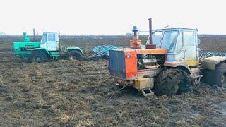 Как двух утопших тракторов Т-150К трактор МТЗ-1221 вытащил. Russian crazy Tractor stuck in a swamp