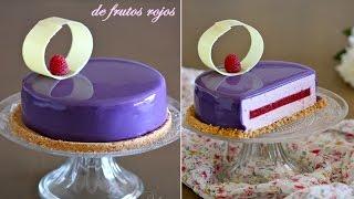 getlinkyoutube.com-Cheesecake de frutos rojos y glaseado violeta brillante