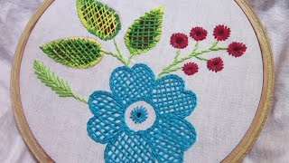 getlinkyoutube.com-Hand Embroidery Stitches | Checker net stitch | Stitch and Flower-72