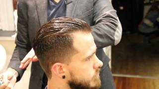 getlinkyoutube.com-Pompadour haircut - how to cut a pompadour haircut - how to style a pompadour - Clipper over comb