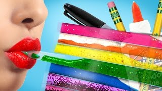 getlinkyoutube.com-DIY LIQUID Rainbow Pencil Case You've NEVER Seen Before!