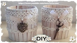 getlinkyoutube.com-Tutorial: Barattolo in Legno Shabby Chic |Riciclo Creativo con Mollette e Barattoli| DIY Jar Wooden