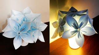 getlinkyoutube.com-Kusudama night light - learn how to make a kusudama lamp - EzyCraft